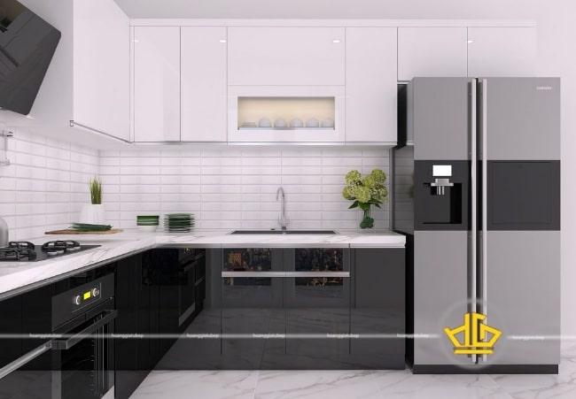Mẫu tủ bếp hiện đại 2020 Acrylic trắng đen