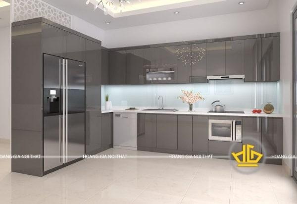 Mẫu tủ bếp hiện đại 2020 chữ L màu xám