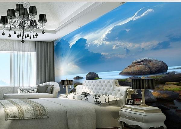 Vải dán tường cho phòng khách sạn bãi biển mát mẻ tạo cảm giác dễ chịu