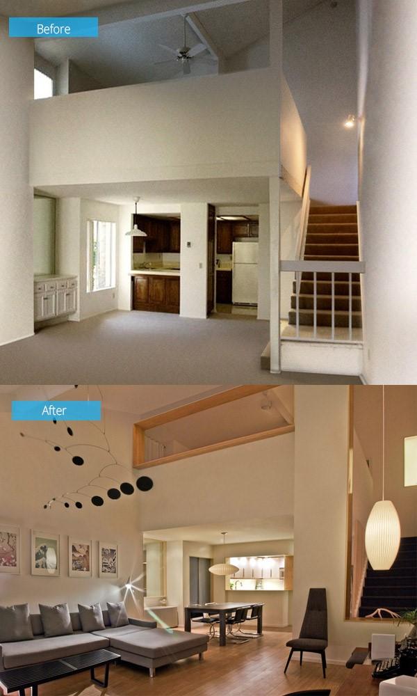 Thiết kế nội thất nhà 3 tầng trước và sau khi sửa